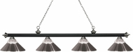 Z-Lite 200-4MB-BN-RBN Riviera Matte Black & Brushed Nickel Clear Ribbed Glass & Brushed Nickel Island Light Fixture
