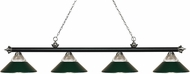 Z-Lite 200-4MB-BN-RDG Riviera Matte Black & Brushed Nickel Clear Ribbed Glass & Dark Green Kitchen Island Light Fixture