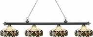 Z-Lite 200-4MB-BN-Z14-33 Riviera Matte Black & Brushed Nickel Multi-Coloured Tiffany Kitchen Island Light Fixture