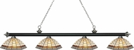 Z-Lite 200-4MB-BN-Z14-35 Riviera Matte Black & Brushed Nickel Multi-Coloured Tiffany Kitchen Island Lighting