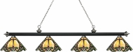 Z-Lite 200-4MB-BN-Z14-37 Riviera Matte Black & Brushed Nickel Multi-Coloured Tiffany Kitchen Island Light