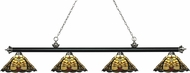 Z-Lite 200-4MB-BN-Z14-46 Riviera Matte Black & Brushed Nickel Multi-Coloured Tiffany Island Light Fixture