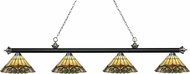 Z-Lite 200-4MB-BN-Z14-49 Riviera Matte Black & Brushed Nickel Multi-Coloured Tiffany Kitchen Island Light Fixture