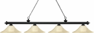 Z-Lite 200-4MB-FGM16 Riviera Matte Black Fluted Golden Mottle Kitchen Island Light Fixture