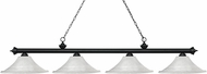 Z-Lite 200-4MB-FWM16 Riviera Matte Black Fluted White Mottle Island Lighting
