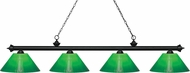 Z-Lite 200-4MB-GCG14 Riviera Matte Black Green Cased Kitchen Island Lighting