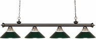 Z-Lite 200-4OB-RDG Riviera Olde Bronze Clear Ribbed Glass and Metal Dark Green Kitchen Island Lighting