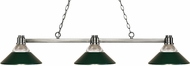 Z-Lite 314BN-RDG Park Brushed Nickel Clear Ribbed Glass & Dark Green Kitchen Island Light