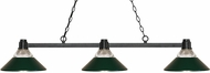 Z-Lite 314BRZ-RDG Park Bronze Clear Ribbed Glass & Dark Green Kitchen Island Light Fixture