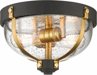 Z-Lite 337F2BRZ-BR Burren Modern Bronze + Brass Flush Mount Lighting
