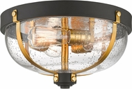Z-Lite 337F3BRZ-BR Burren Modern Bronze + Brass Flush Mount Light Fixture