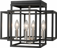 Z-Lite 454F-BK-BN Titania Modern Black + Brushed Nickel Overhead Lighting Fixture