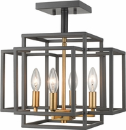 Z-Lite 454SF-BRZ-OBR Titania Contemporary Bronze + Olde Brass Ceiling Light Fixture