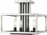Z-Lite 456SF-BN-BK Quadra Modern Brushed Nickel + Black Flush Mount Lighting