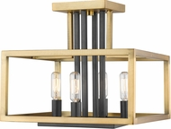 Z-Lite 456SF-OBR-BRZ Quadra Contemporary Olde Brass + Bronze Overhead Lighting