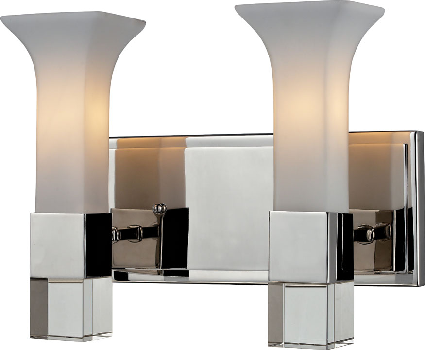 Z-Lite 611-2V-CH Lotus Contemporary Chrome 2-Light Bath Wall Sconce - ZLT-611-2V-CH