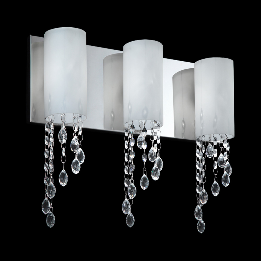 Halogen Bathroom Wall Sconces : Z-Lite 871CH-3V Jewel Modern Chrome Halogen 3-Light Bathroom Lighting Sconce - ZLT-871CH-3V