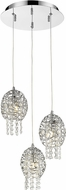 Z-Lite 889CH-3A Nabul Chrome Halogen Multi Pendant Light Fixture