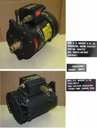 Alternator 100 Amp Dual Voltage 28/14 Volt For HMMWV, (Niehoff N1505-1) 12447110