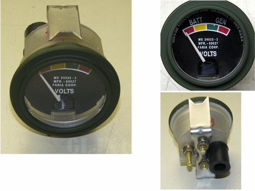 Battery Charging Gauge (Voltmeter), MS24532-2 Faria