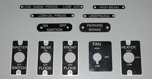 Data Plates For Switches, Indicators, Controls