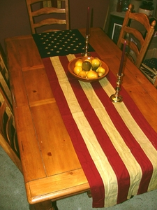 "American Flag Runner - Tea-stained flag runner - 20"" x  90""<br>Available in Antiqued or Cream"