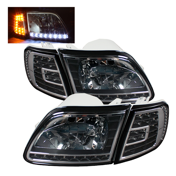 1998 2003 Ford F150 Crystal Headlights W Clear Led Corners Black