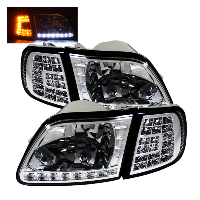 1998 2003 Ford F150 Chrome Crystal Headlights W Clear Led Corners