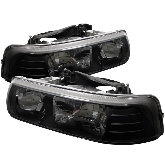1999 2002 Chevy Silverado 1500 2500 Black Crystal Headlights 4 Jpg