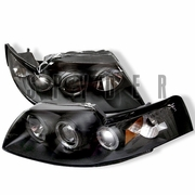1999-2004 Ford Mustang Black Halo Projector Headlights