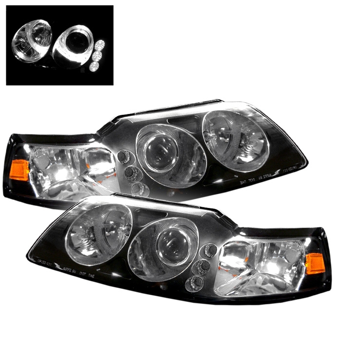 1999 2004 ford mustang led 1pc black projector headlights 1999 2004 ford mustang led 1pc black