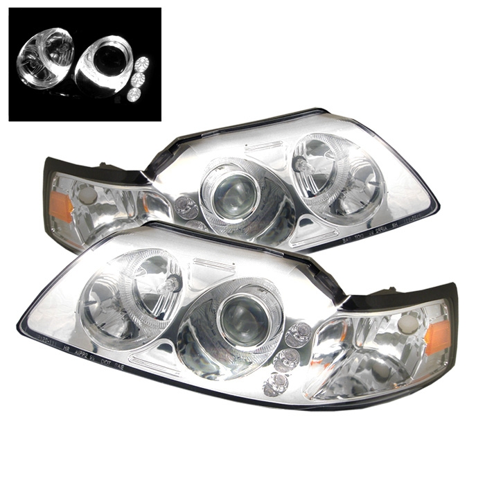 1999 2004 ford mustang led 1pc chrome projector headlights bmc extreme customs