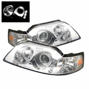 1999-2004 Ford Mustang LED 1PC Chrome Projector Headlights