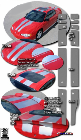 2000-2005 Chevrolet Monte Carlo Rally Stripe Graphics Kit 1