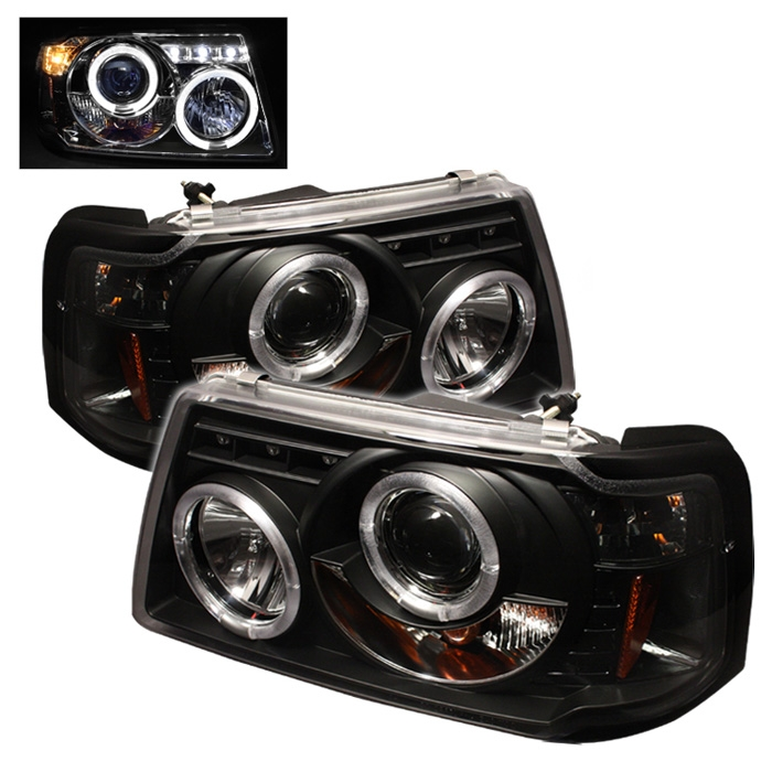 2001-2008 Ford Ranger Halo LED Projector Headlights - Black on