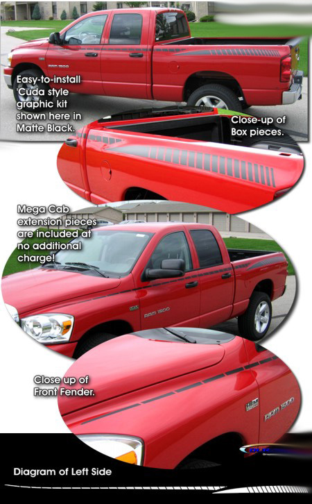2002-2008 Dodge Ram Truck Cuda Style Body Side Strobe Graphics Kit