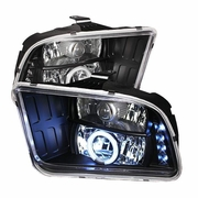 2005-2009 Ford Mustang CCFL LED Black Projector Headlights