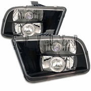 2005-2009 Ford Mustang Halo LED Black Projector Headlights
