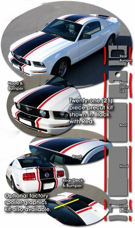 """Ford Mustang 2005-2009 25/"""" wide Racing Stripes Decal Kit"""