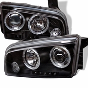 2006-2010 Dodge Charger Halo LED Black Projector Headlights 5009739