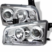2006-2010 Dodge Charger Halo LED Chrome Projector Headlights