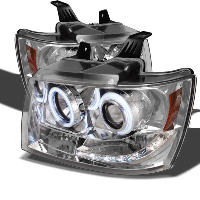 2007 2017 Chevrolet Tahoe Suburban Avalanche Ccfl Led Chrome Projector Headlights Pro Yd Csub07 C