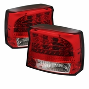 2006-2010 Dodge Charger LED Red Clear Tail Lights