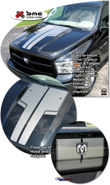 2009 2011 dodge ram truck hood and tailgate accent kit 3. Black Bedroom Furniture Sets. Home Design Ideas