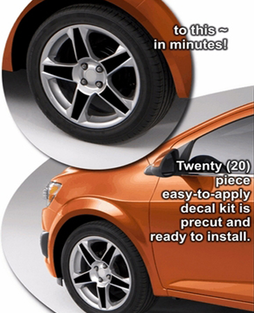 2012 Chevrolet Sonic Wheel Graphic Decal Kit 2 - 17 inch Factory Wheel