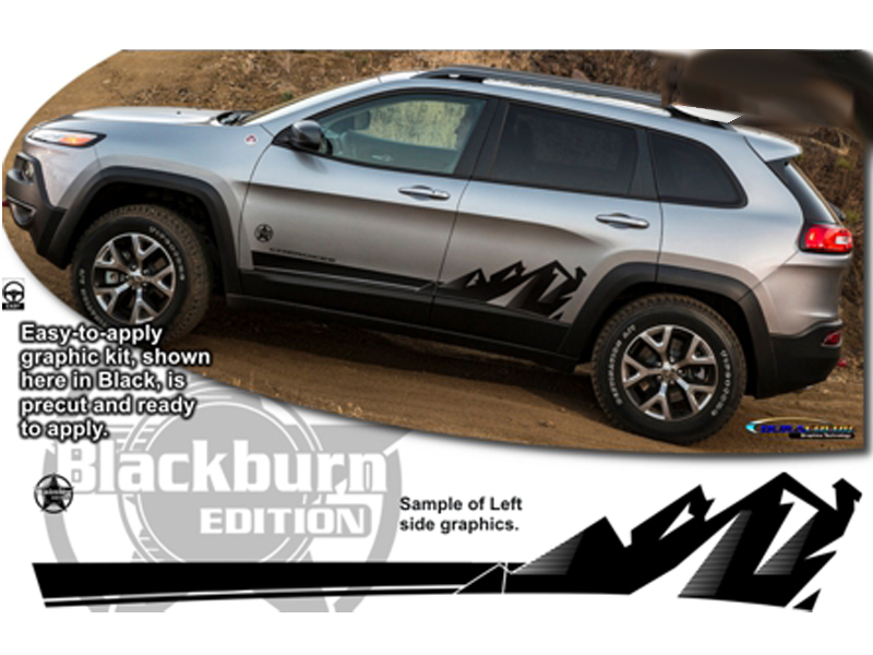 Jeep Grand Cherokee White 2017 >> '14-Current Jeep Cherokee Body Side Graphic Kit 3 - Blackburn Edition ATD-JEEPCHKEEGRPH005