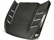 2015-2017 Mustang Double Sided Carbon Fiber Heat Extractor Hood | AC-HD15FDMU-SA