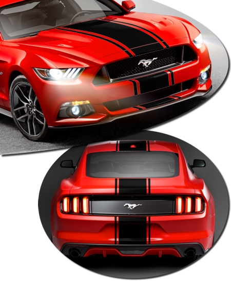 shelby gt500 super snake style rally stripe graphic kit 2 for ford mustang. Black Bedroom Furniture Sets. Home Design Ideas