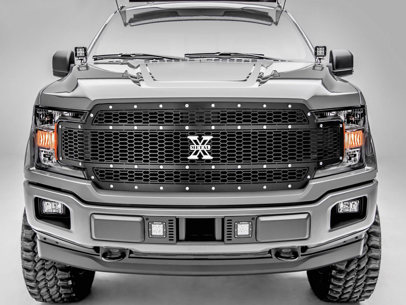 2018 2019 Ford F 150 Laser X Metal Series Grill Black Powdercoat Chrome Studs