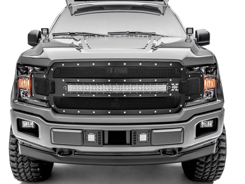 T Rex Ford F  Torch Series Main Grille Replacement  Led Light Bar Chrome Studs Black Finish